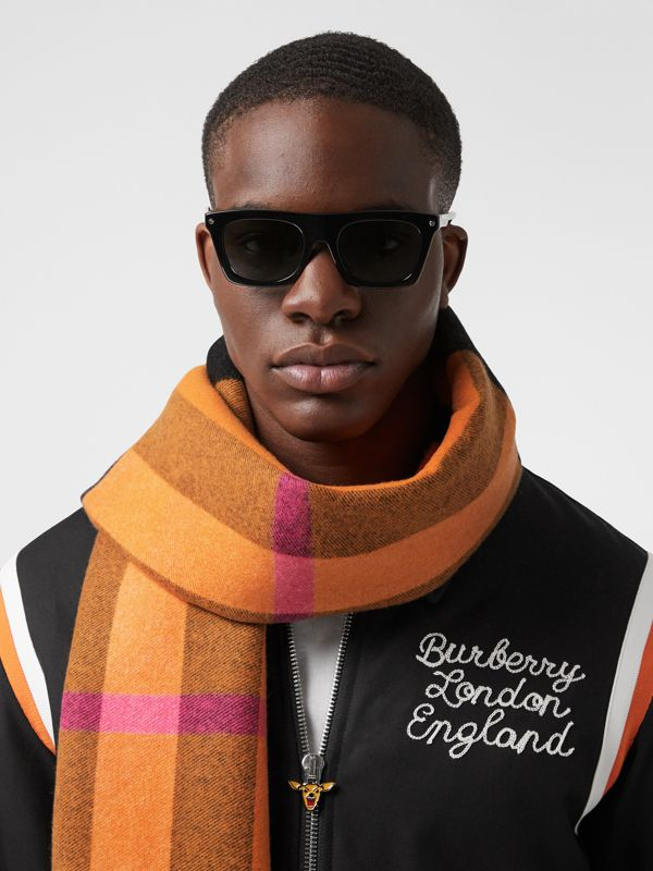 Reversible Check and Logo Cashmere Scarf in Orange | Burberry - cell image 3