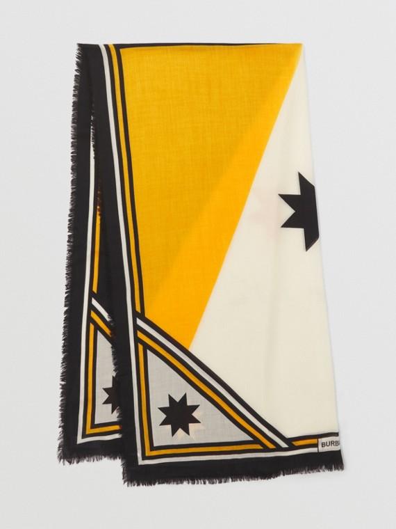 Geometric Print Lightweight Cashmere Scarf in Saffron Yellow