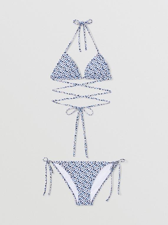 Bikini a triangolo con stampa monogramma (Blu Cobalto)