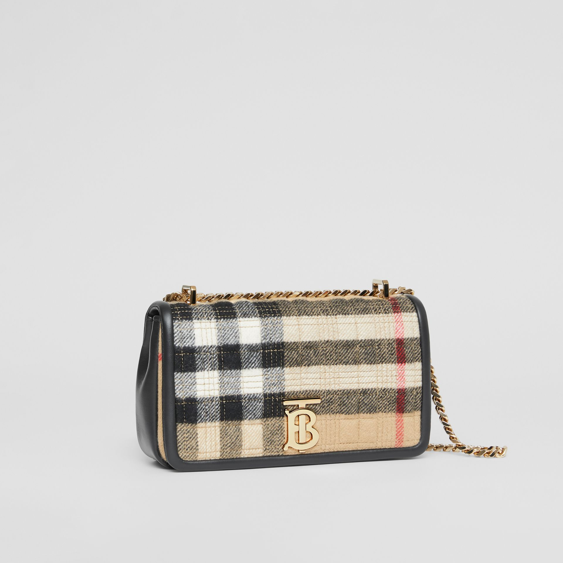 Small Check Cashmere Lola Bag in Archive Beige - Women | Burberry - gallery image 6