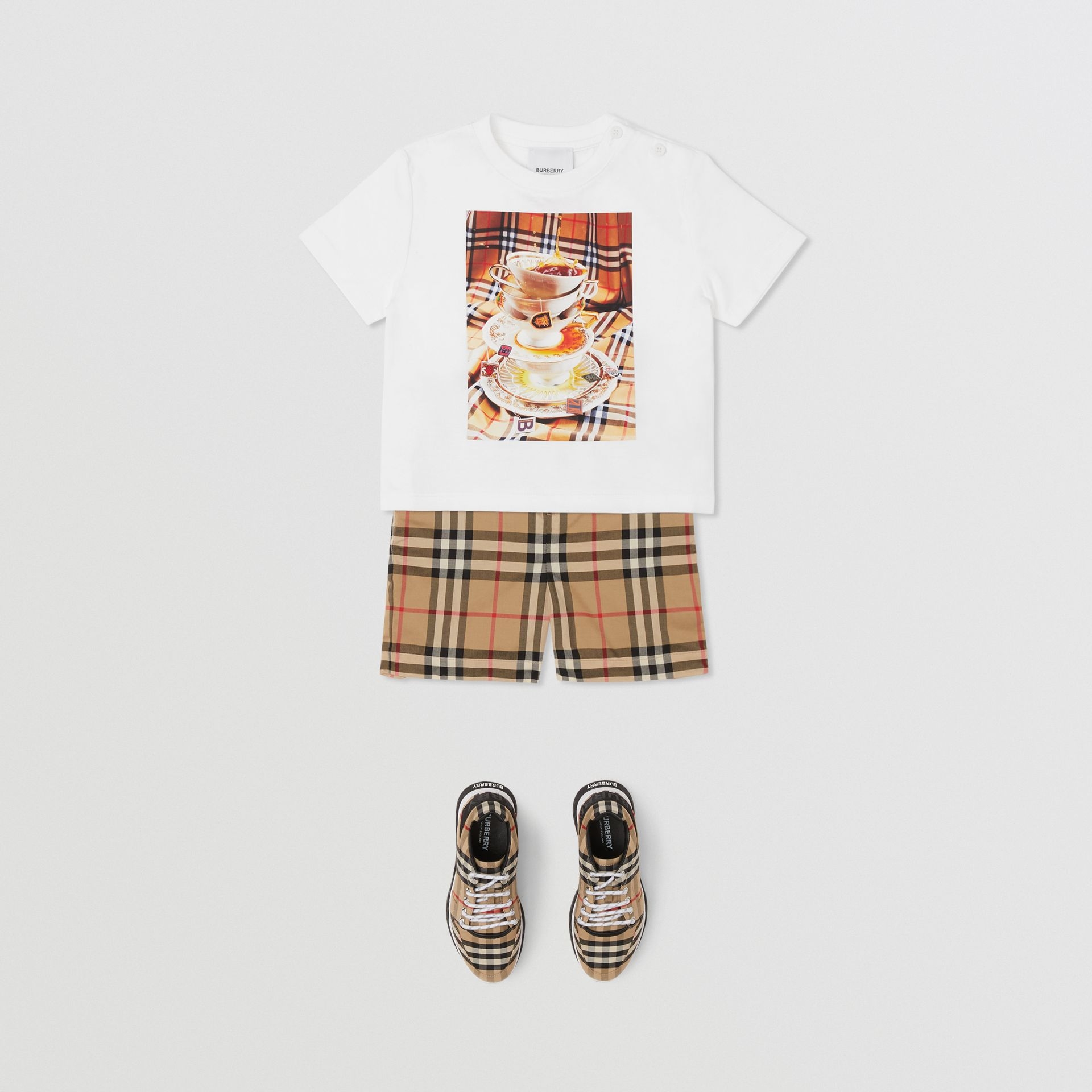 Teacup Print T-shirt in Multicolour - Children | Burberry - gallery image 3