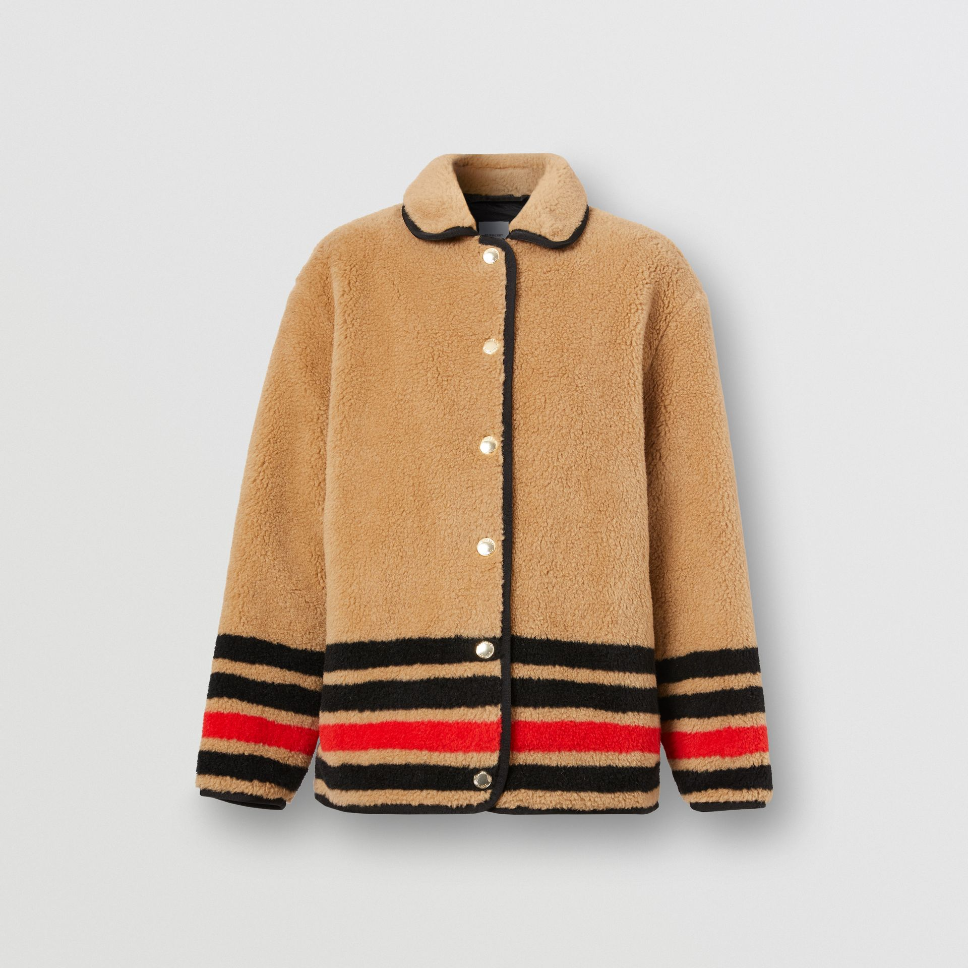 Stripe Intarsia Fleece Jacket in Light Camel - Women | Burberry Canada - gallery image 3