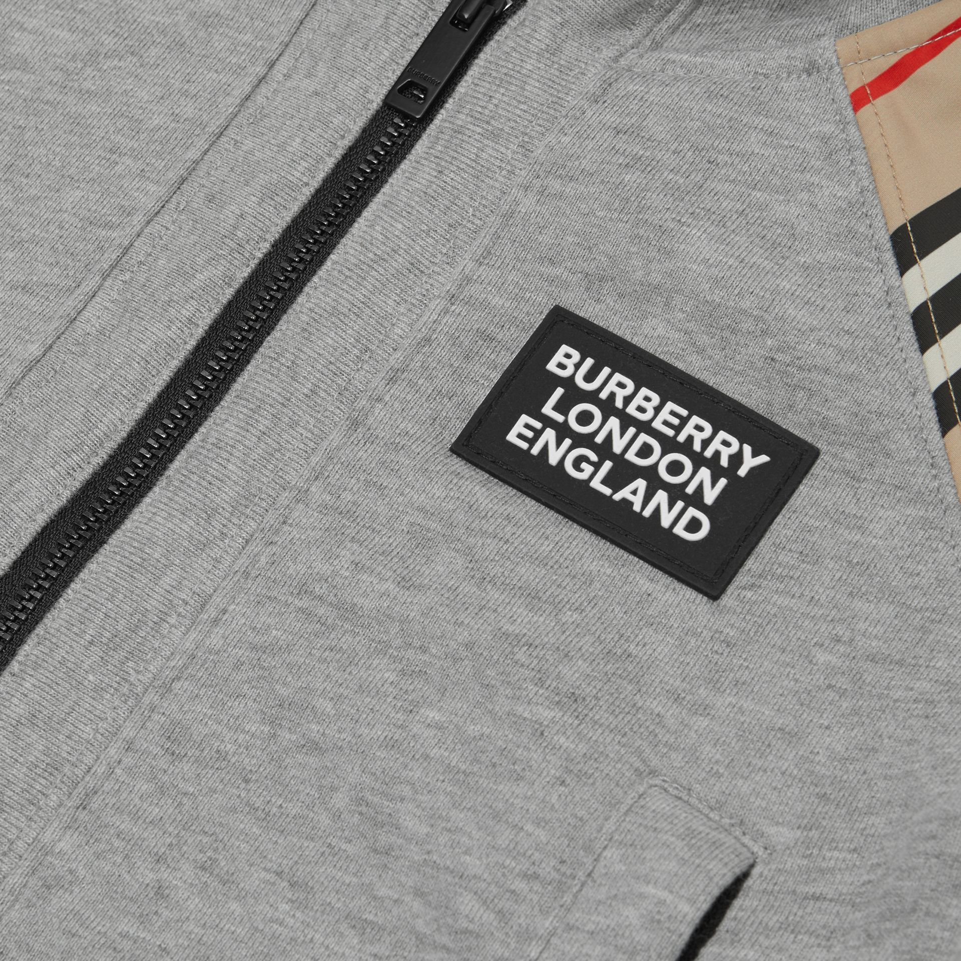 Icon Stripe Panel Cotton Hooded Top - Children | Burberry United Kingdom - gallery image 1