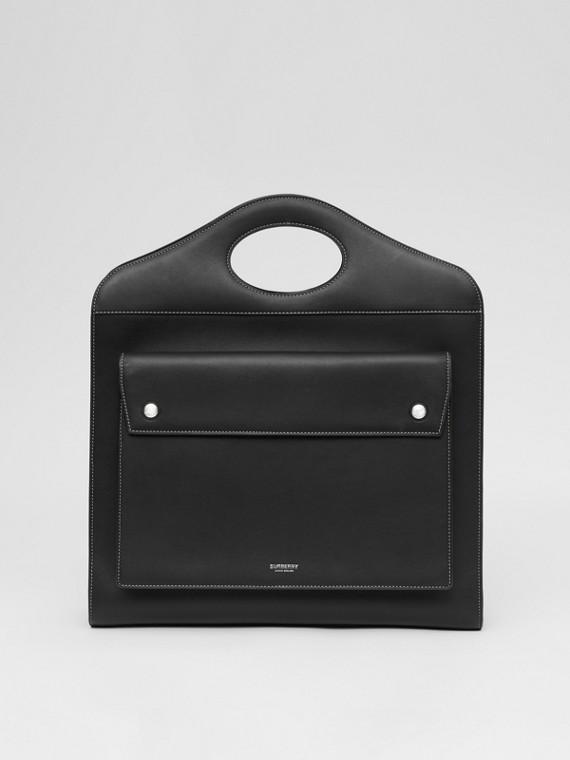 Medium Topstitched Leather Pocket Bag in Black
