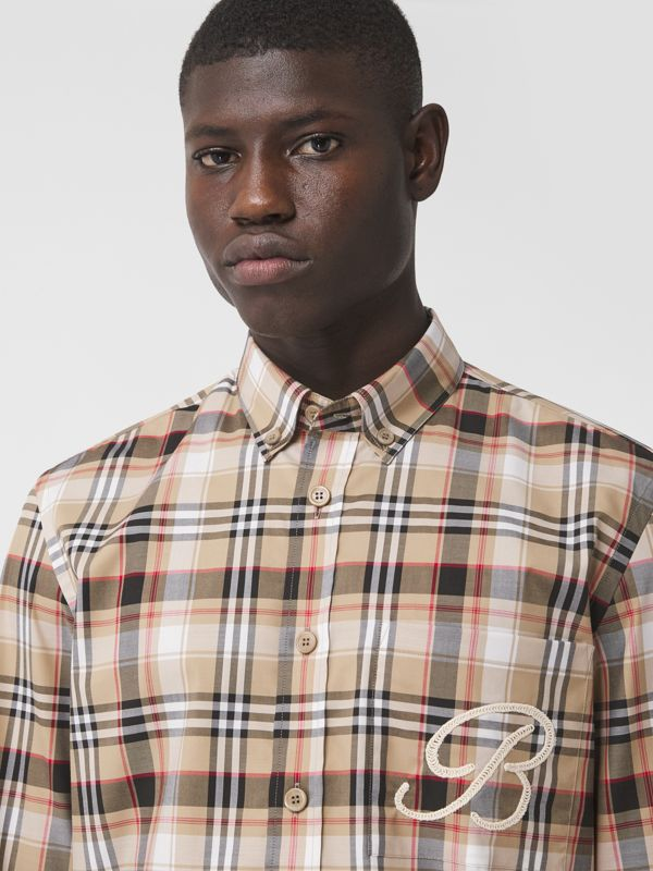 Camisa de algodão stretch com logotipo B bordado (Preto) - Homens | Burberry - cell image 3
