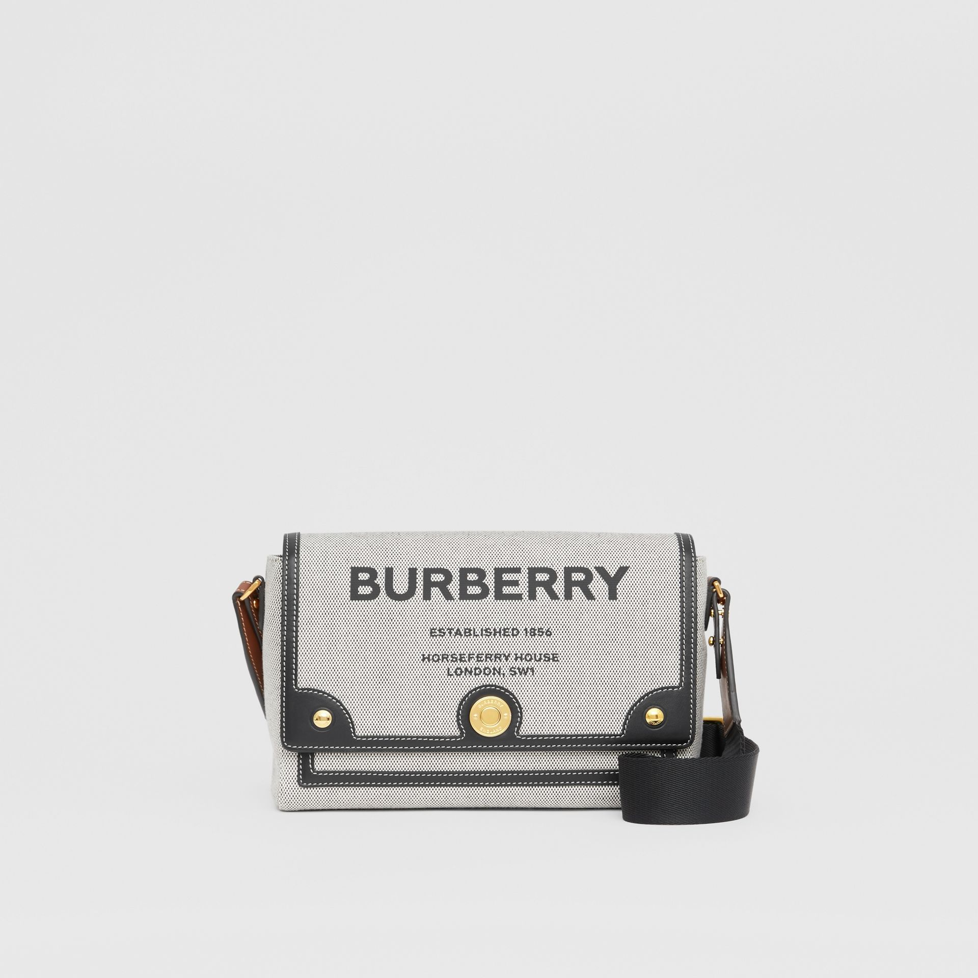 Horseferry Print Canvas Note Crossbody Bag in Black/black/tan - Women | Burberry - gallery image 0