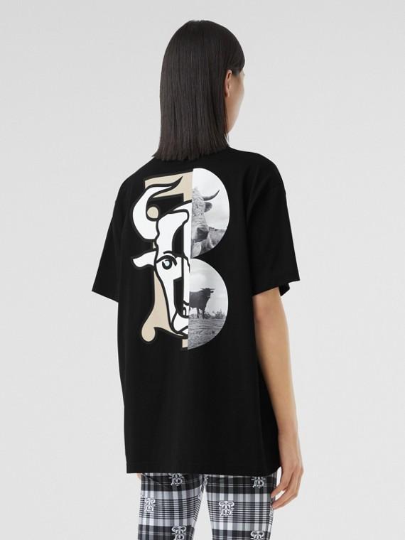 T-shirt en coton à imprimé montage unisexe (Noir)