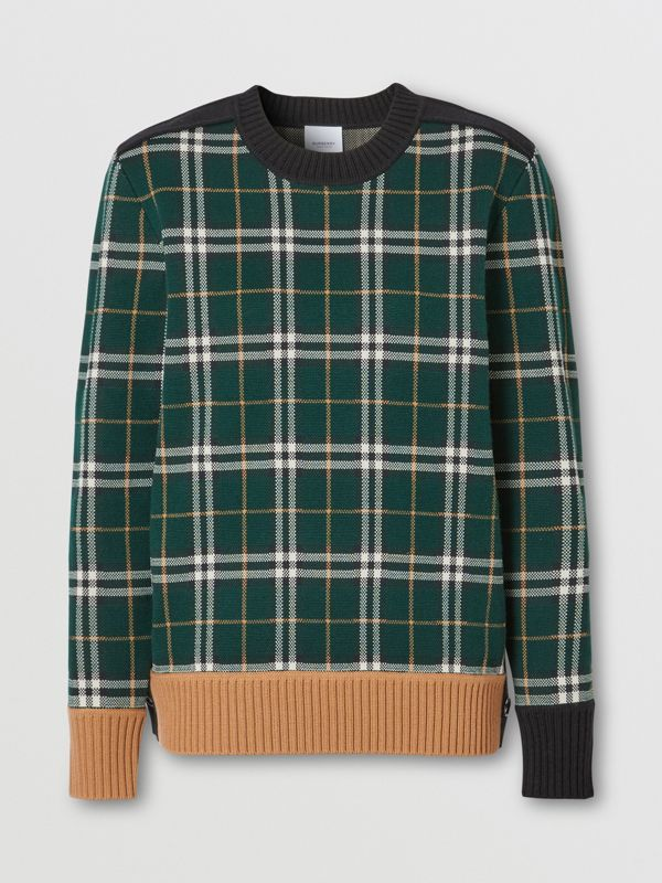 Check Technical Merino Wool Jacquard Sweater in Bottle Green - Women | Burberry - cell image 3