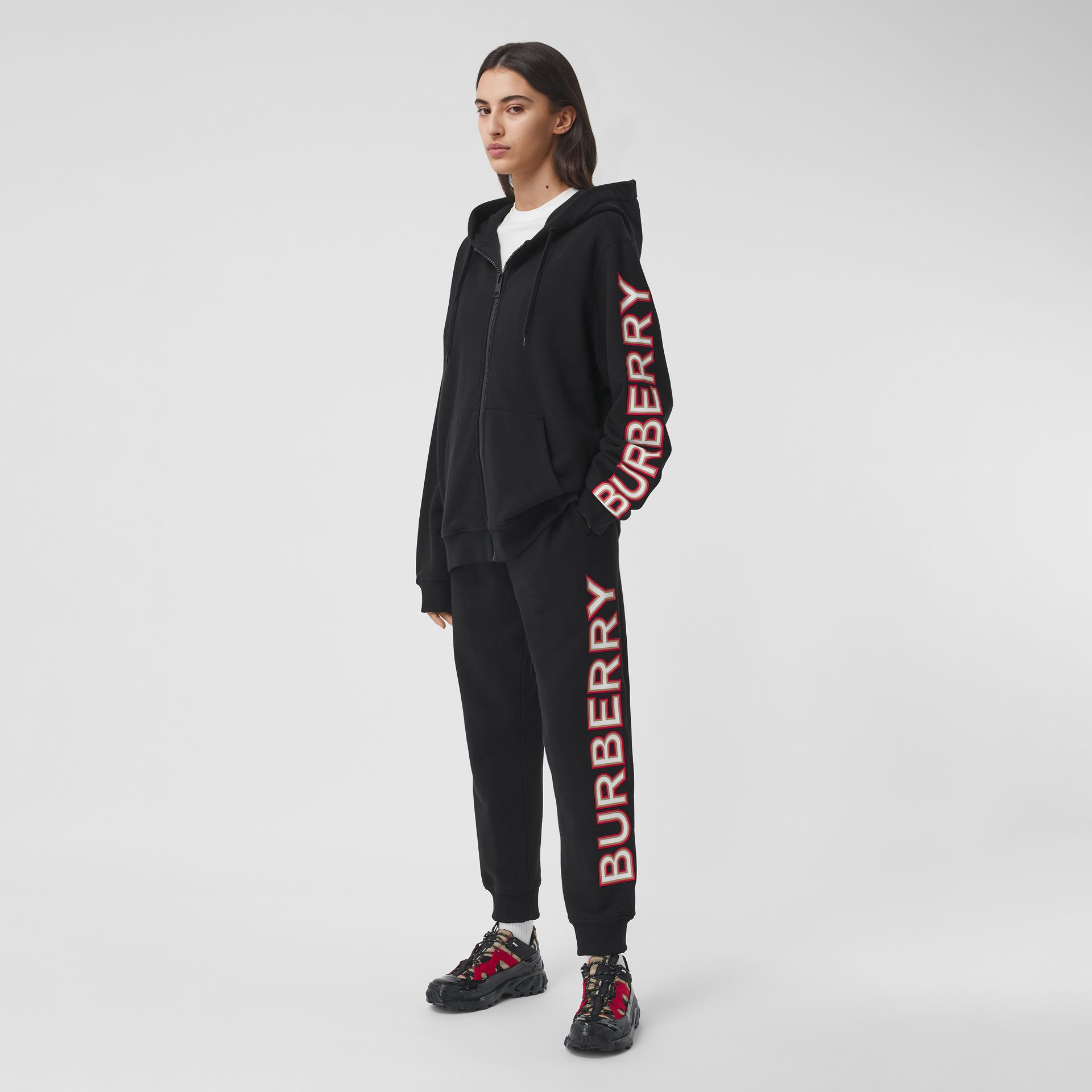 Logo Print Cotton Oversized Hooded Top in Black - Women | Burberry - gallery image 0