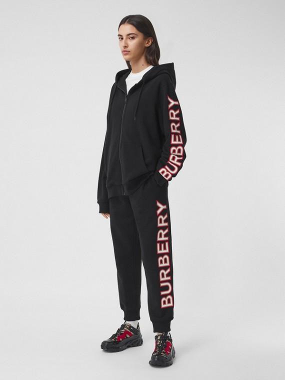Haut à capuche oversize en coton avec logo (Noir)