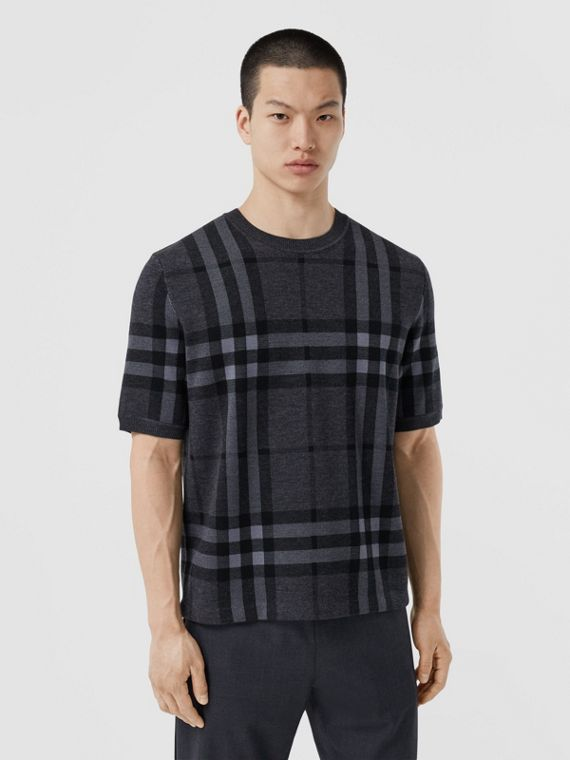 Short-sleeve Check Silk Wool Jacquard Top in Charcoal Melange
