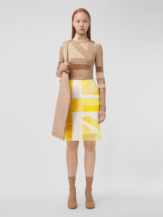 Flag Intarsia Tulle and Silk Skirt in Pale Tulip Yellow