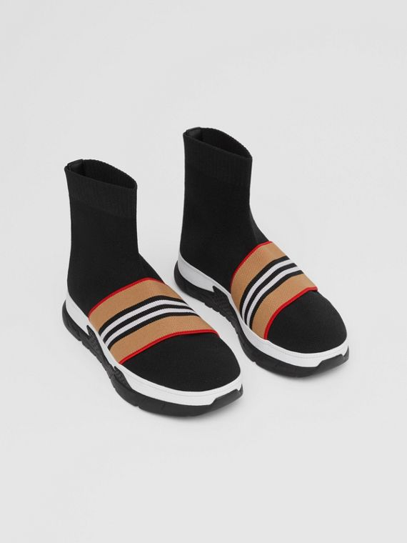 Icon Stripe Detail Stretch Knit Sock Sneakers in Black