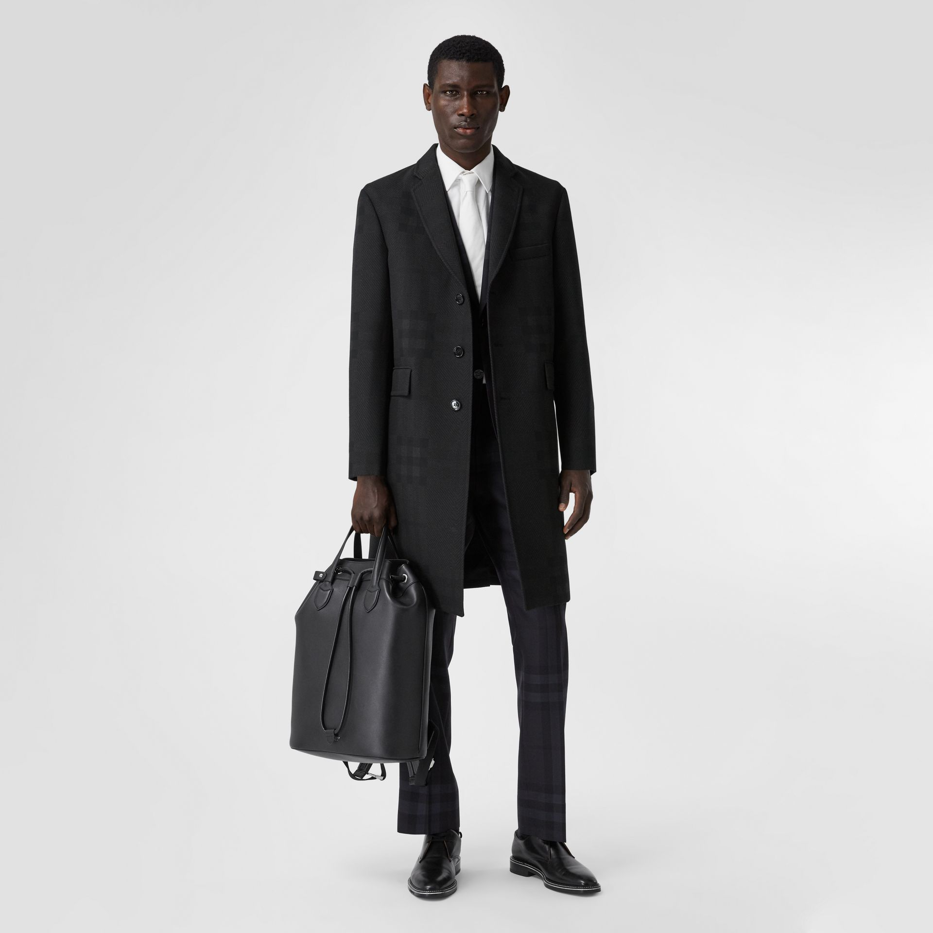 Check Wool Jacquard Tailored Coat in Charcoal Black - Men | Burberry - gallery image 0
