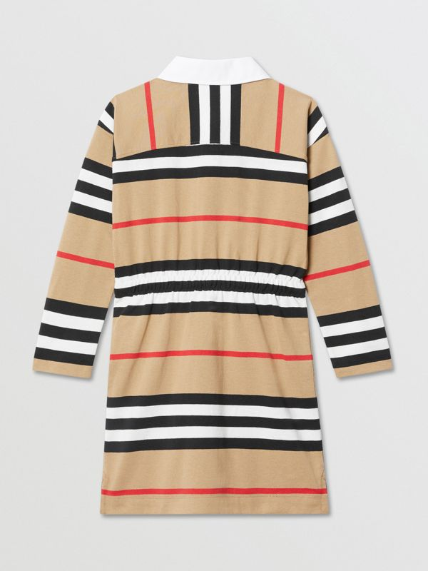 Long-sleeve Icon Stripe Cotton Dress in Archive Beige | Burberry United Kingdom - cell image 2