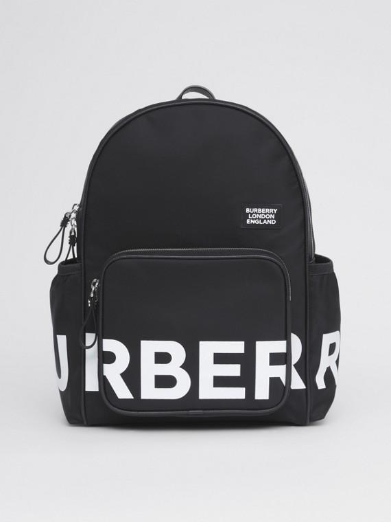 Logo Print ECONYL® Backpack in Black