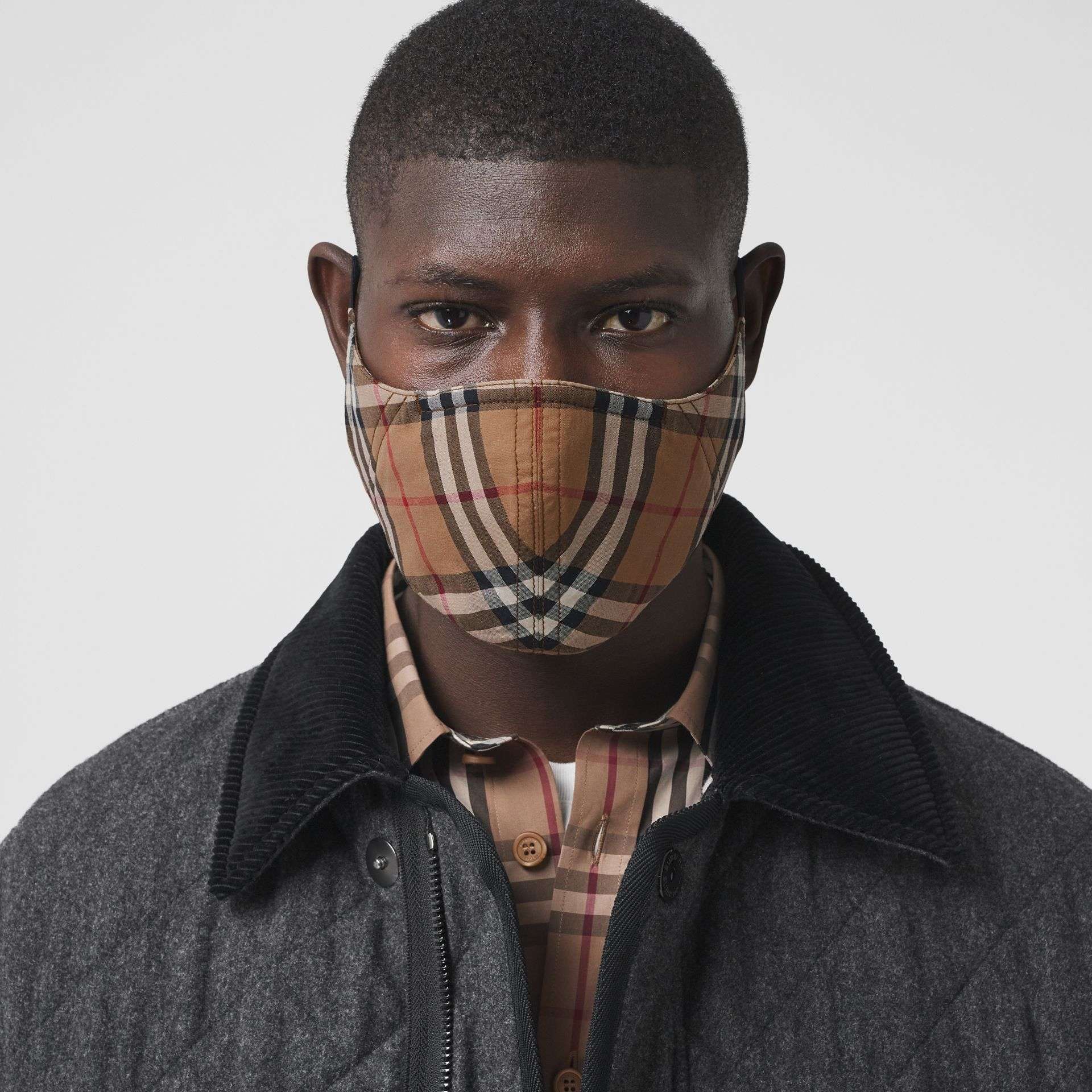 Vintage Check Cotton Face Mask in Birch Brown | Burberry - gallery image 3