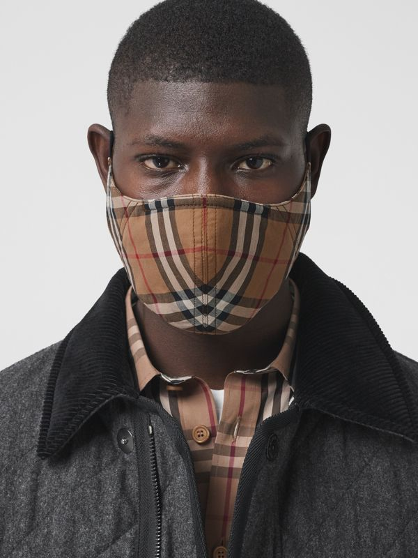 Vintage Check Cotton Face Mask in Birch Brown | Burberry United Kingdom - cell image 3