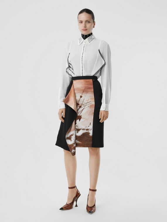 Ship Print Silk Panel Wool Pencil Skirt in Black