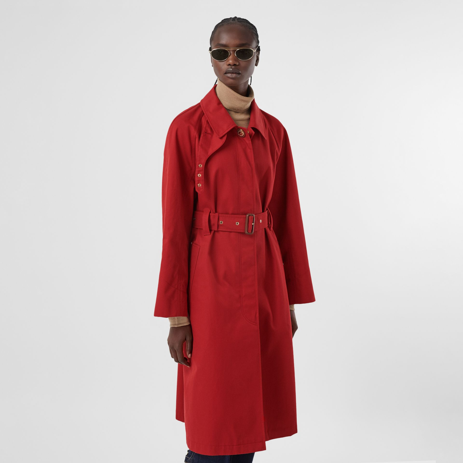 Tropical Gabardine Belted Car Coat in Dark Carmine - Women | Burberry - gallery image 6