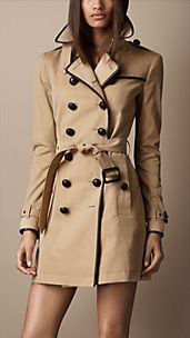 Trench-coat mi-long en gabardine de coton avec touches de cuir