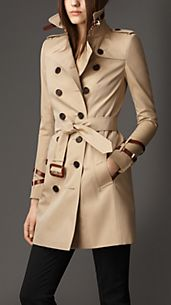 Mid-Length Leather Detail Gabardine Trench Coat