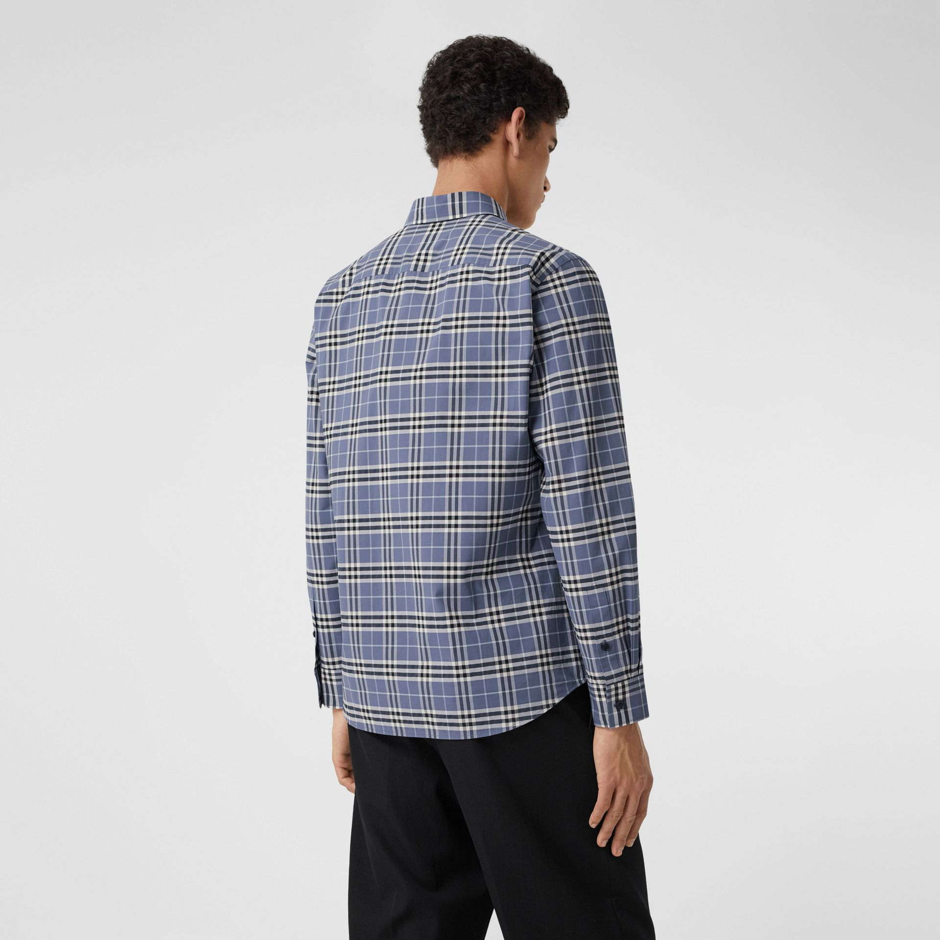 Small Scale Check Stretch Cotton Shirt in Pebble Blue - Men | Burberry United Kingdom - gallery image 2