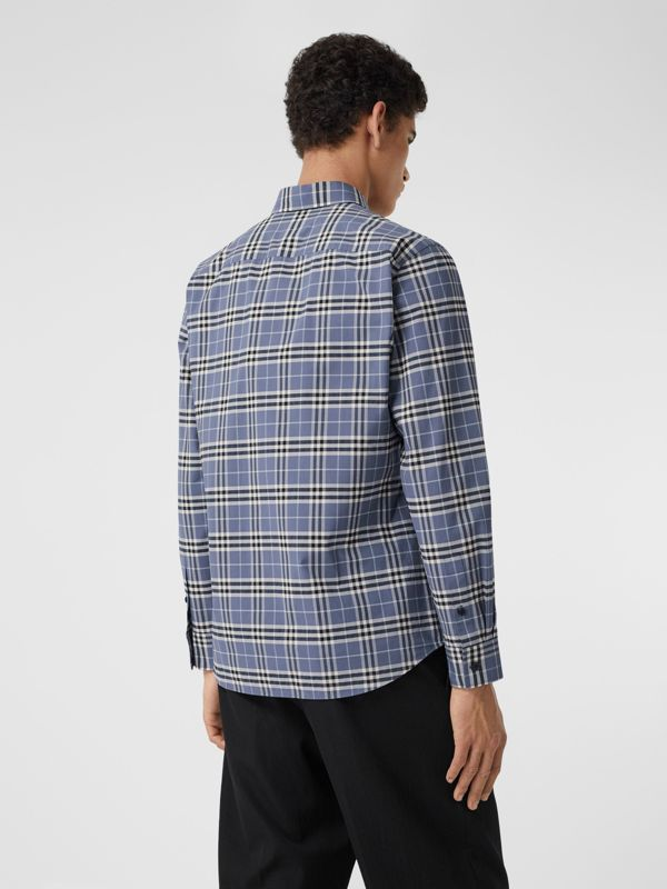 Small Scale Check Stretch Cotton Shirt in Pebble Blue - Men | Burberry United Kingdom - cell image 2