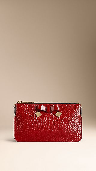 Patent Heritage Grain Leather Clutch Bag