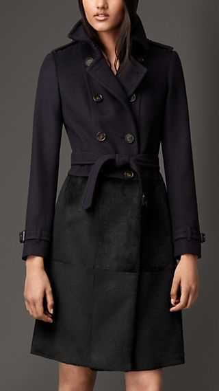 Wool Cashmere Coat With Rabbit Skirt