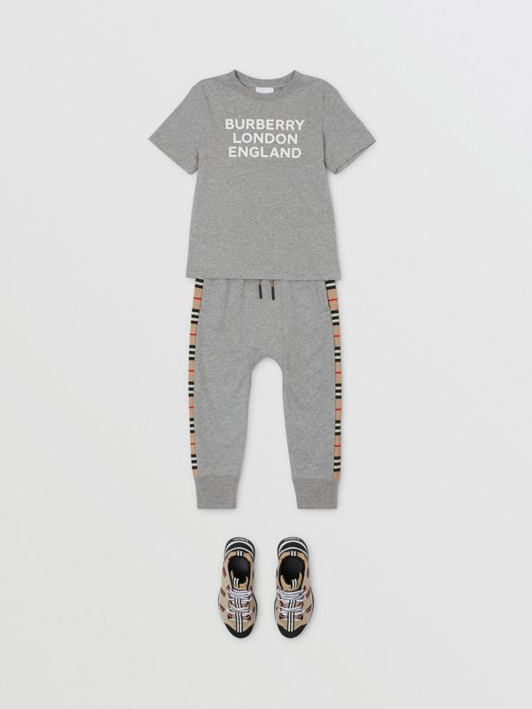 Logo Print Cotton T-shirt in Grey Melange   Burberry - cell image 3