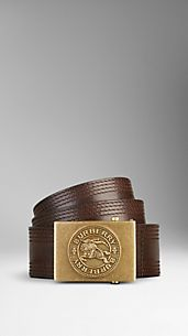 Embossed Plaque Leather Belt
