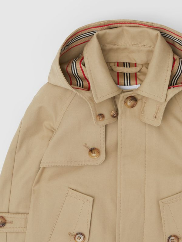 Detachable Hood Icon Stripe Trim Cotton Car Coat in Honey - Children | Burberry United Kingdom - cell image 3