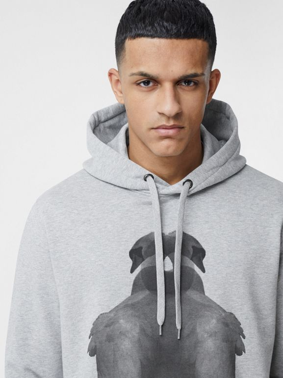 Montage Print Cotton Hoodie in Pale Grey Melange - Men | Burberry - cell image 1