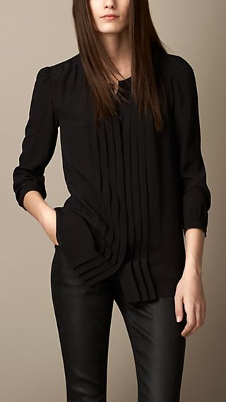 Pleat-Front Crepe Shirt