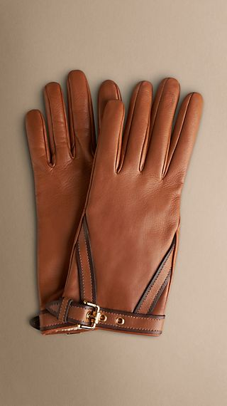 Belt Detail Leather Gloves