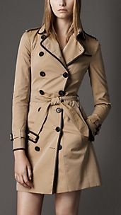 Trench-coat long en gabardine de coton avec bordure en cuir