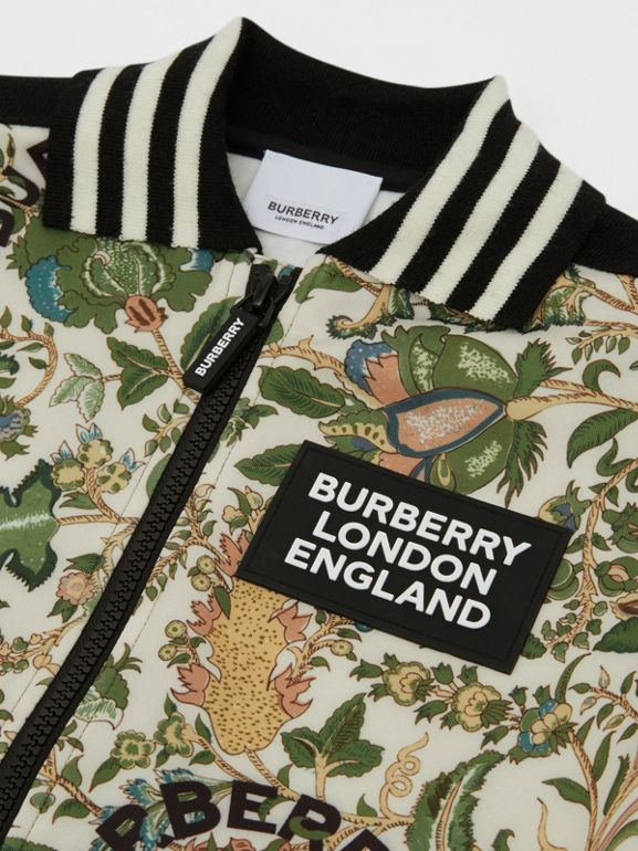 Botanical Print Neoprene Bomber Jacket in Olive | Burberry Hong Kong S.A.R - cell image 1