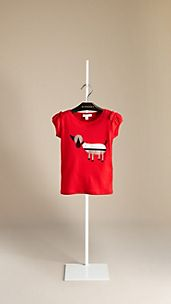 Dog Print Ruffle Sleeve T-Shirt