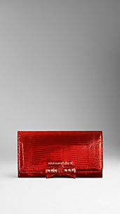 Metallic Lizard Leather Continental Wallet