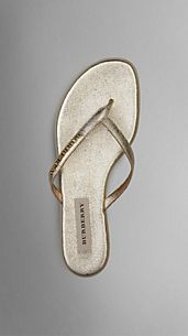 Metallic London Leather Flip Flops