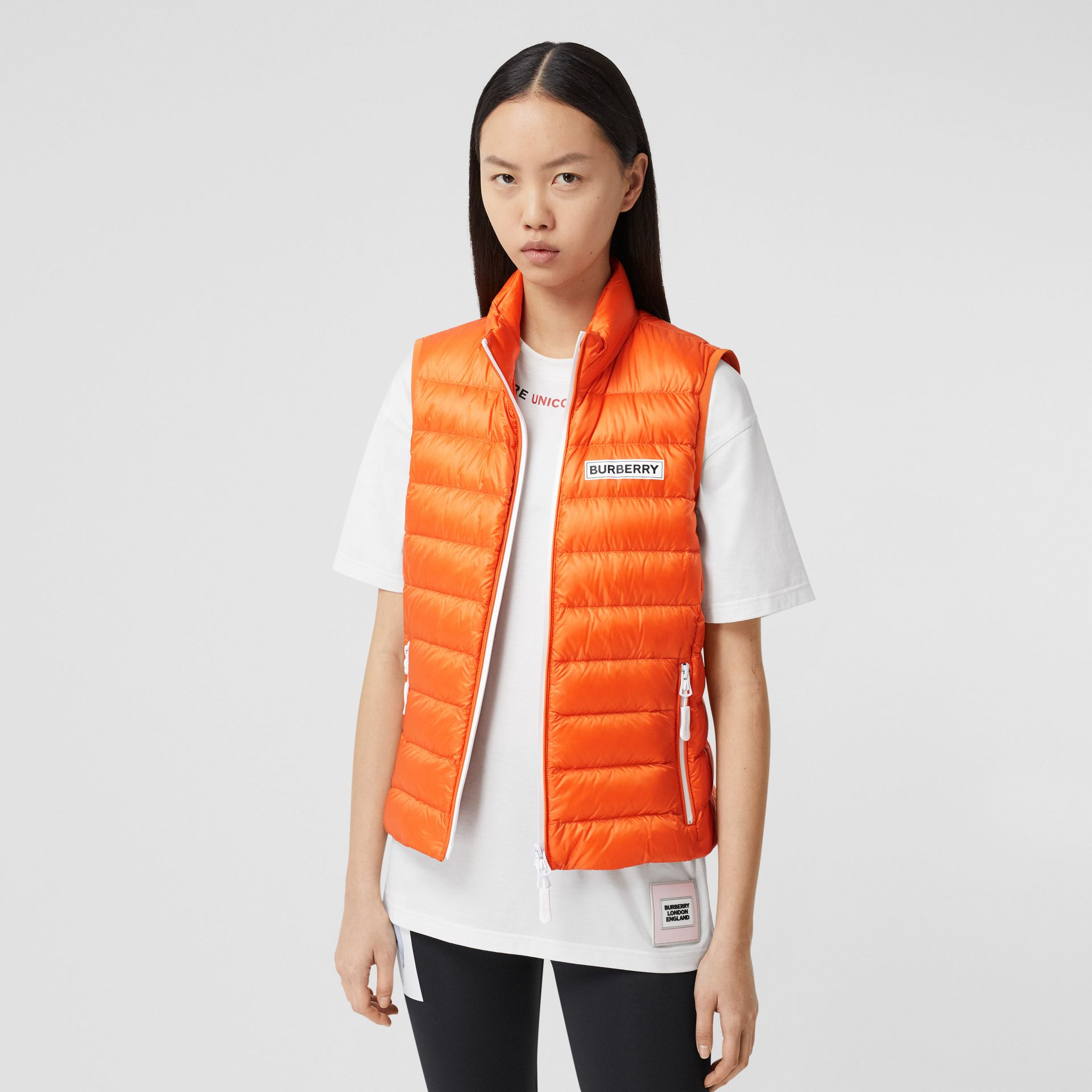Logo Print Lightweight Puffer Gilet in Bright Orange - Women | Burberry United Kingdom - gallery image 5