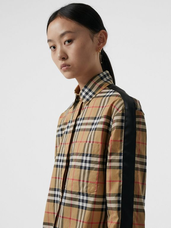 Satin Stripe Vintage Check Shirt in Antique Yellow - Women | Burberry - cell image 1