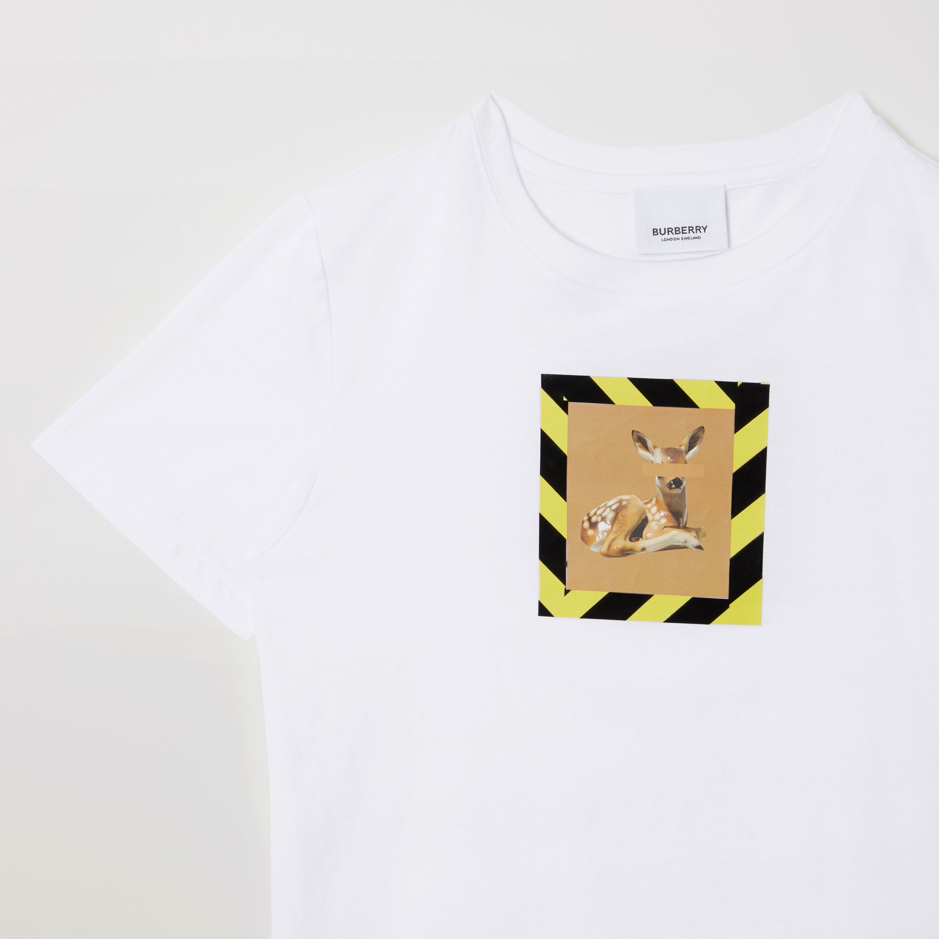 Deer Print Cotton T-shirt in White | Burberry United States - gallery image 5