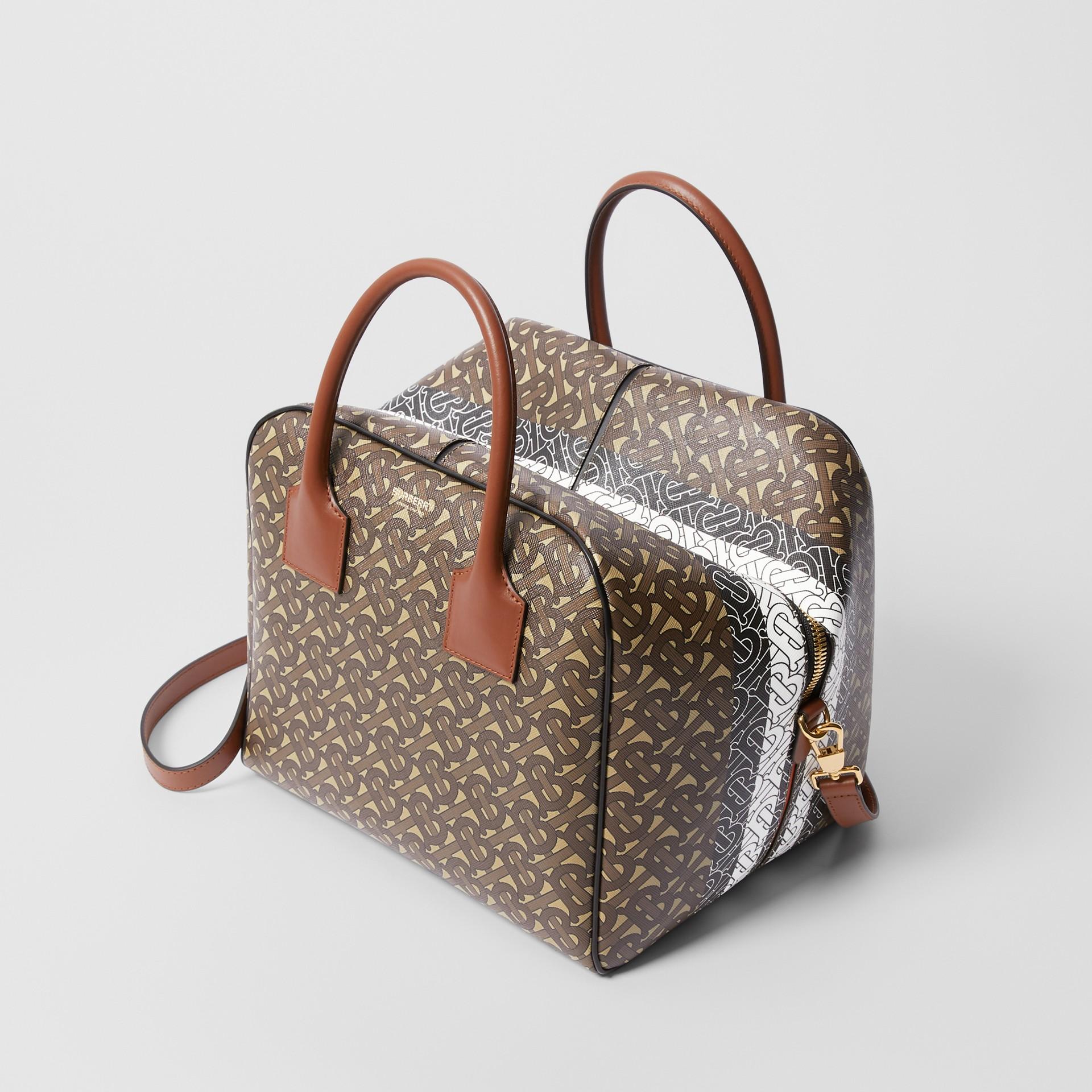 Medium Monogram Stripe E-canvas Cube Bag in Bridle Brown - Women | Burberry - gallery image 3