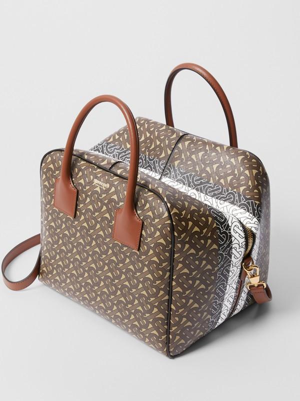 Medium Monogram Stripe E-canvas Cube Bag in Bridle Brown - Women | Burberry - cell image 3