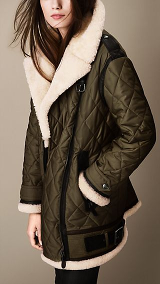 Oversize Quilted Aviator Jacket with Shearling Trim
