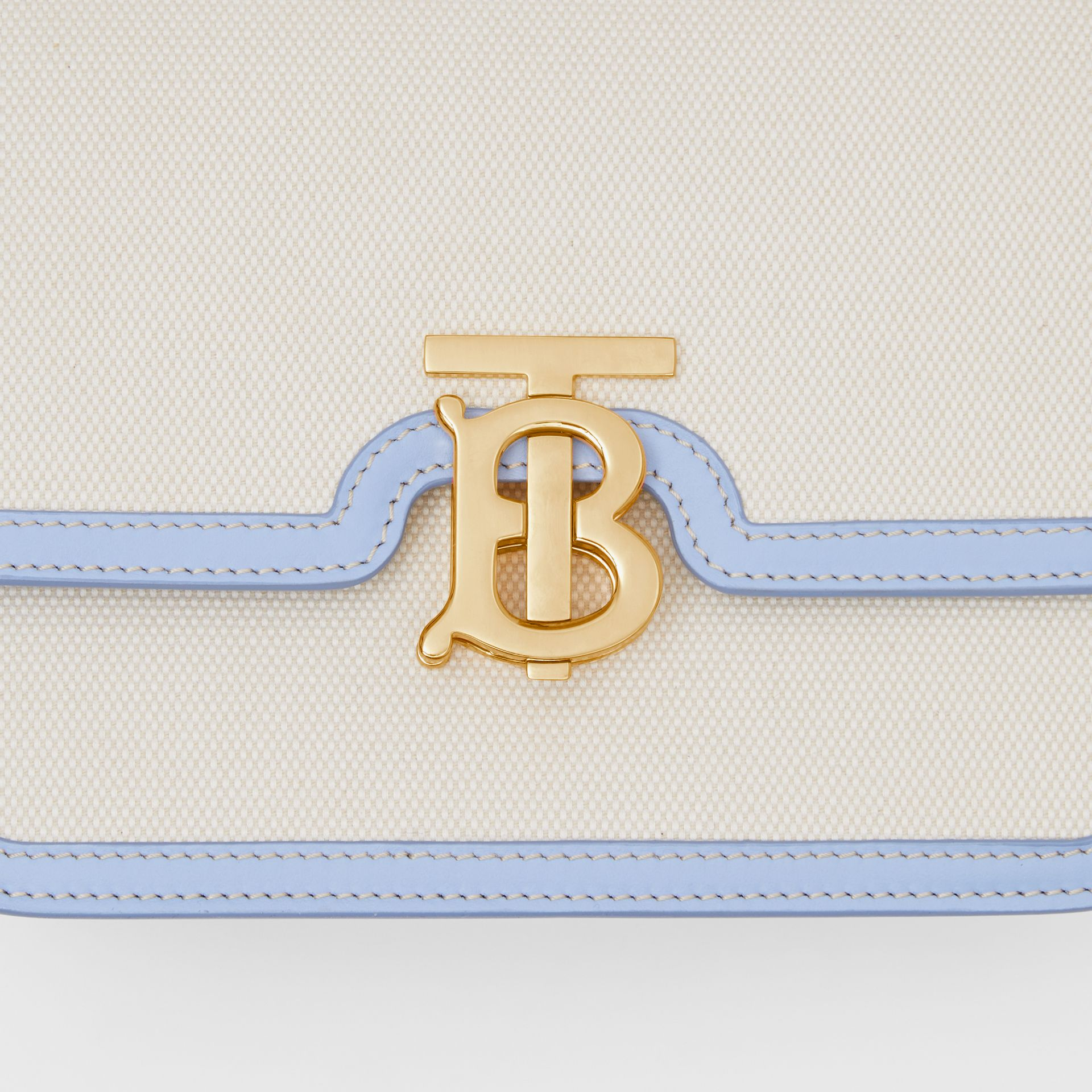 Small Two-tone Canvas and Leather TB Bag in Natural/pale Blue | Burberry United States - gallery image 1