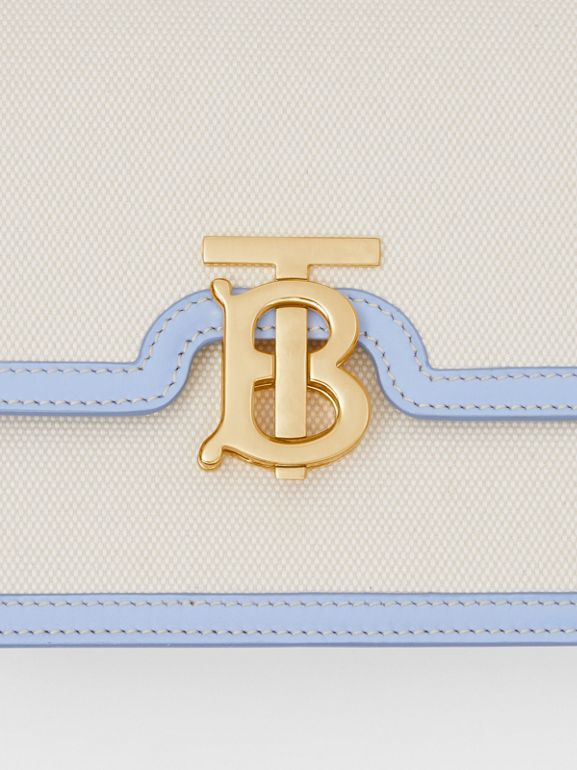 Small Two-tone Canvas and Leather TB Bag in Natural/pale Blue | Burberry United States - cell image 1