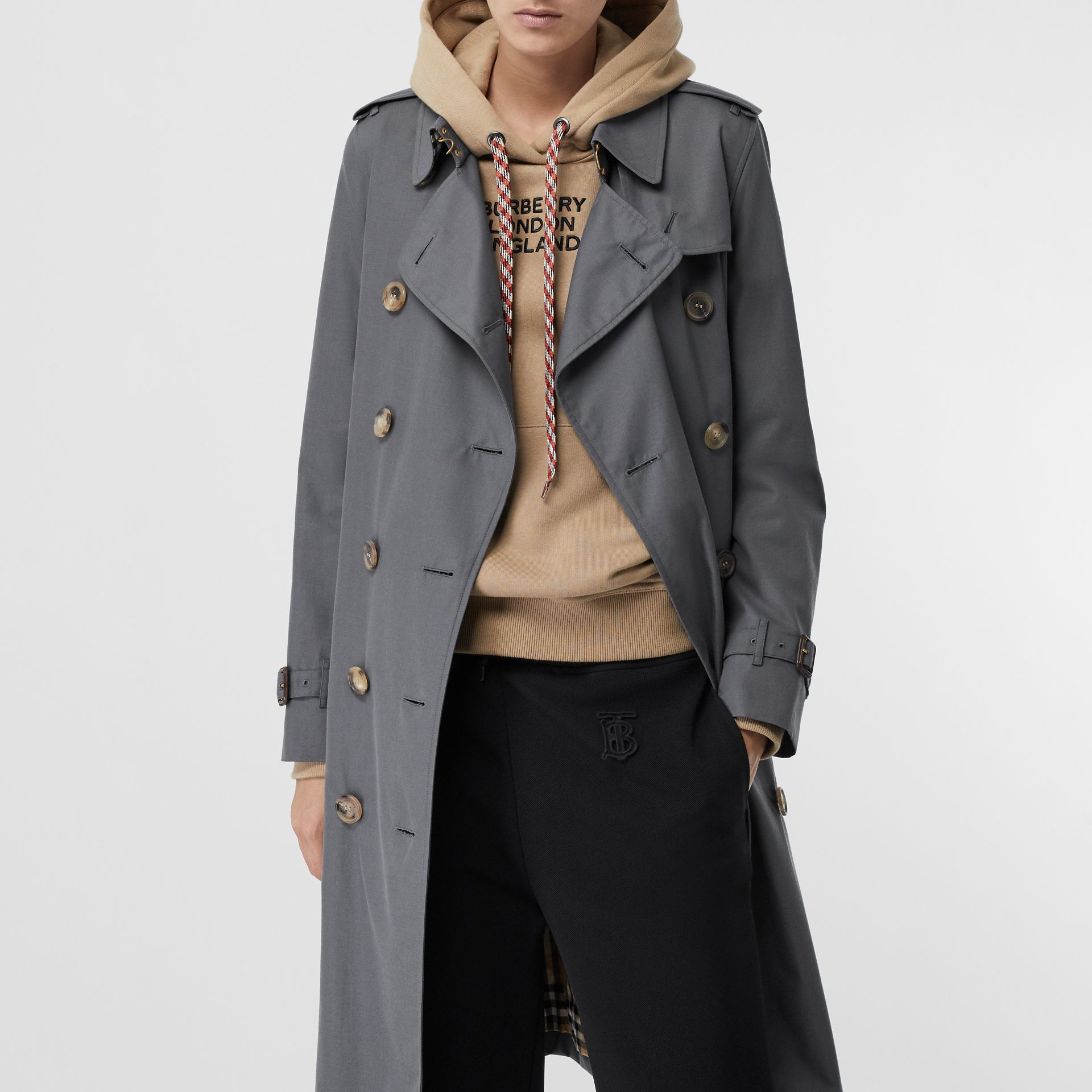 Cotton Gabardine Long Trench Coat in Mid Grey - Women | Burberry - gallery image 7